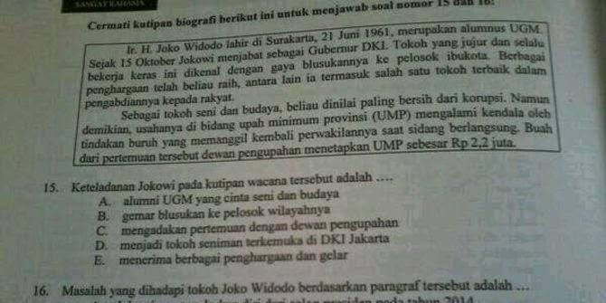 ADA JOKOWI DI SOAL UJIAN NASIONAL BAHASA INDONESIA