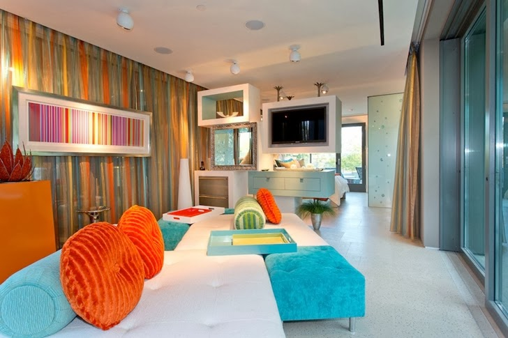 Colorful bedroom furniture in Multimillion modern dream home in Las Vegas