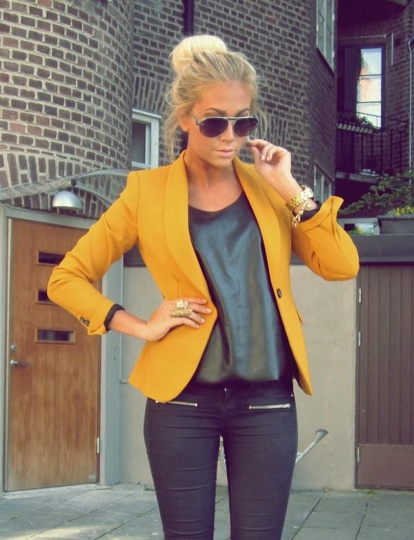Yellow blazer, shiny black blouse and black pants for fall