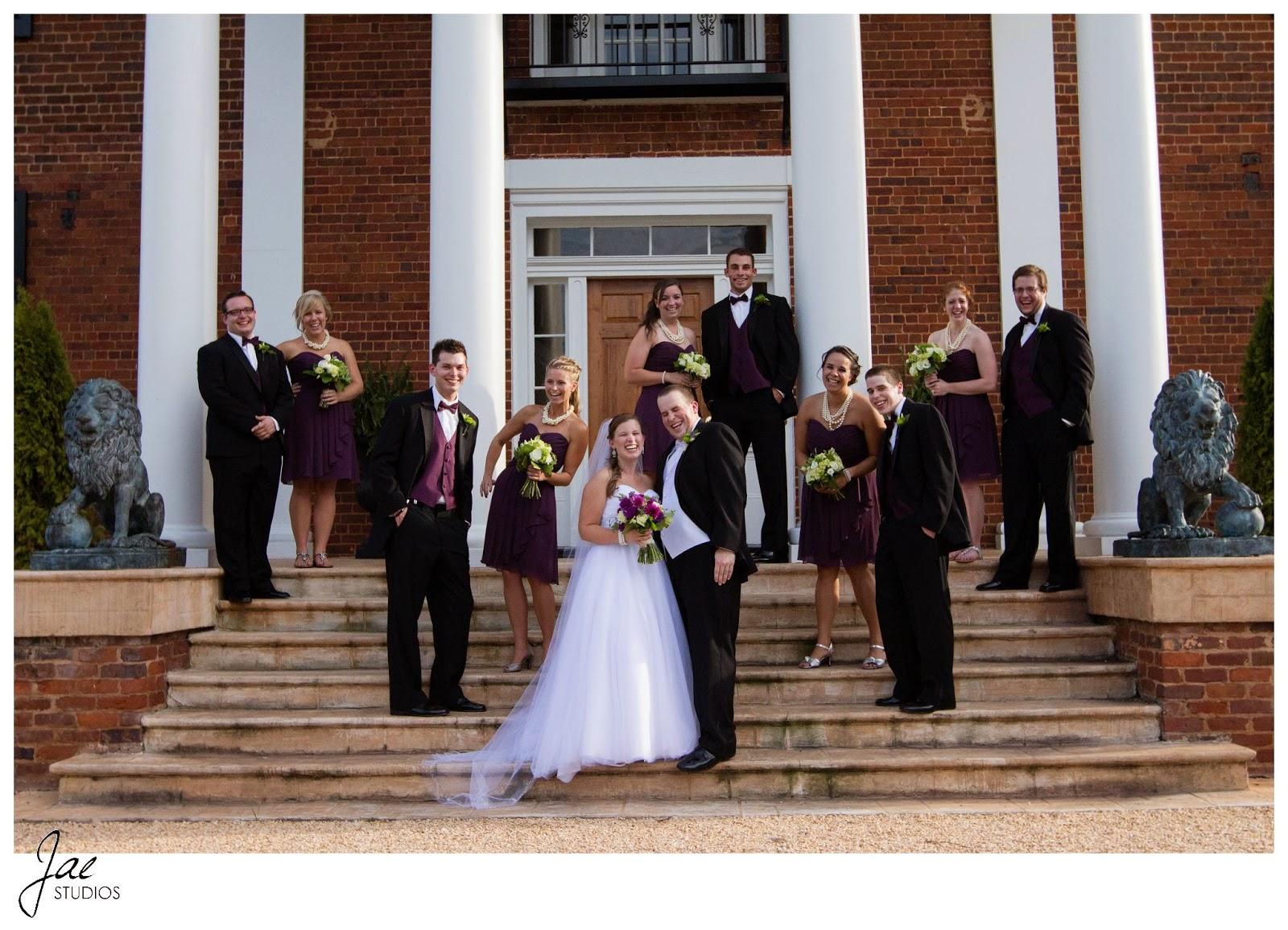 Jonathan and Julie, Bird cage, West Manor Estate, Wedding, Lynchburg, Virginia, Jae Studios, steps, wedding dress, bouquet, purple, tuxedo, dresses, bridesmaids, groomsmen, lions