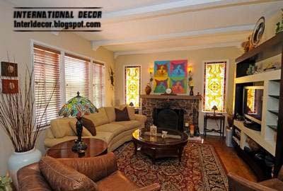 stained glass window for living room interior