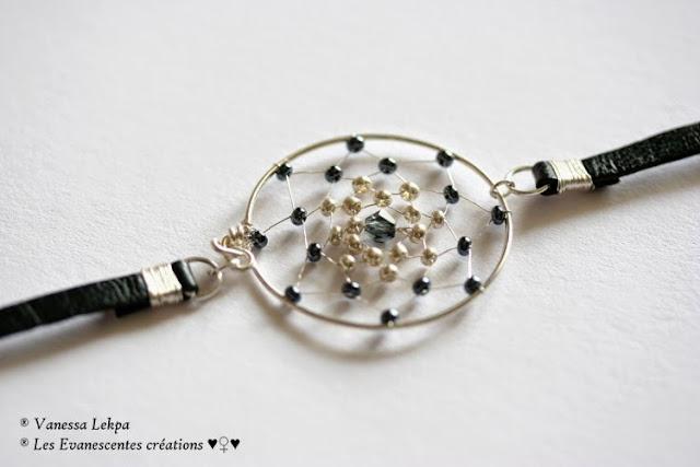 bijoux en cuir style wild jewelry en cuir noir de buffle attrape rêves en argent sertie et brodé de perles