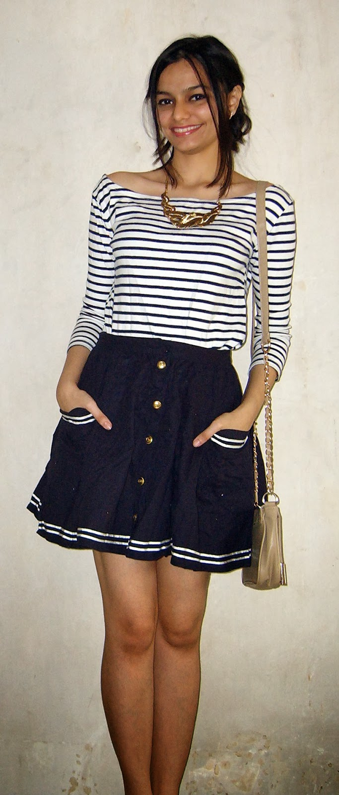 nautical look, look for less, street shopping, topshop skater skirt, stripes, gold, navy skirt