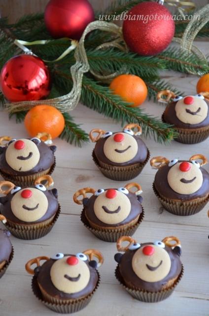 Świąteczne muffinki Renifery