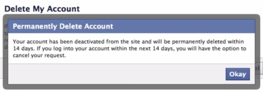 It digital world how to delete facebook account permanently congratulation now you have completely deleted your facebook account permanently and in order to complete the deleting request do not login within 14 days ccuart Choice Image