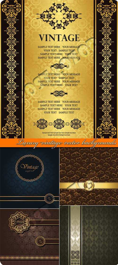 Luxury vintage vector backgrounds Set 01
