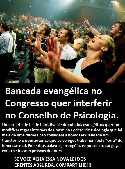 bancada evangélica no Congresso quer interferir no Conselho de Psicologia