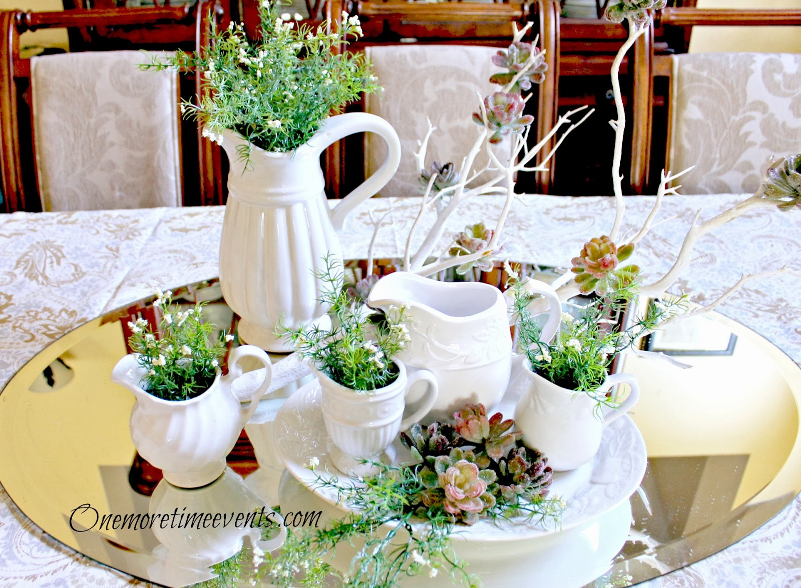 White Pitcher collection Centerpiece at One More Time Events.com
