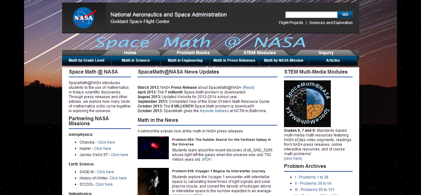 Wednesday Web Tool: Space Math from NASA - JCS Tech Contact Blog
