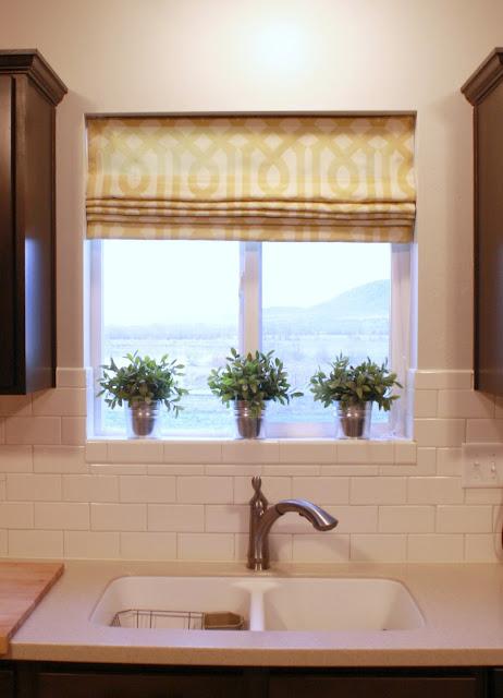 Kitchen window roman shades for Roman blinds kitchen ideas