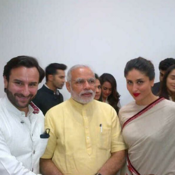 Saif ali khan and kareena kapoor meet PM Modi