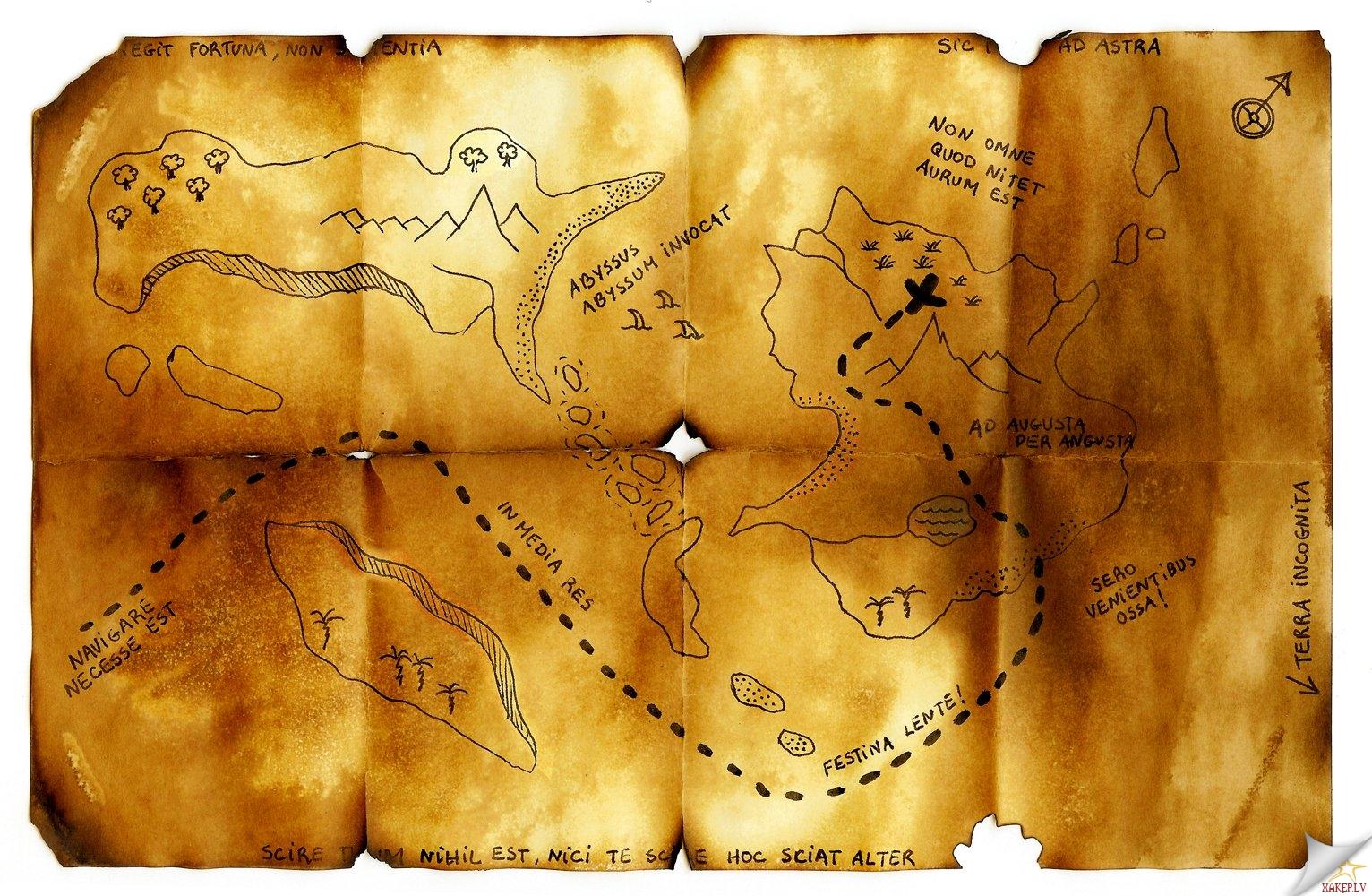 Пиратские карты сокровищ своими руками