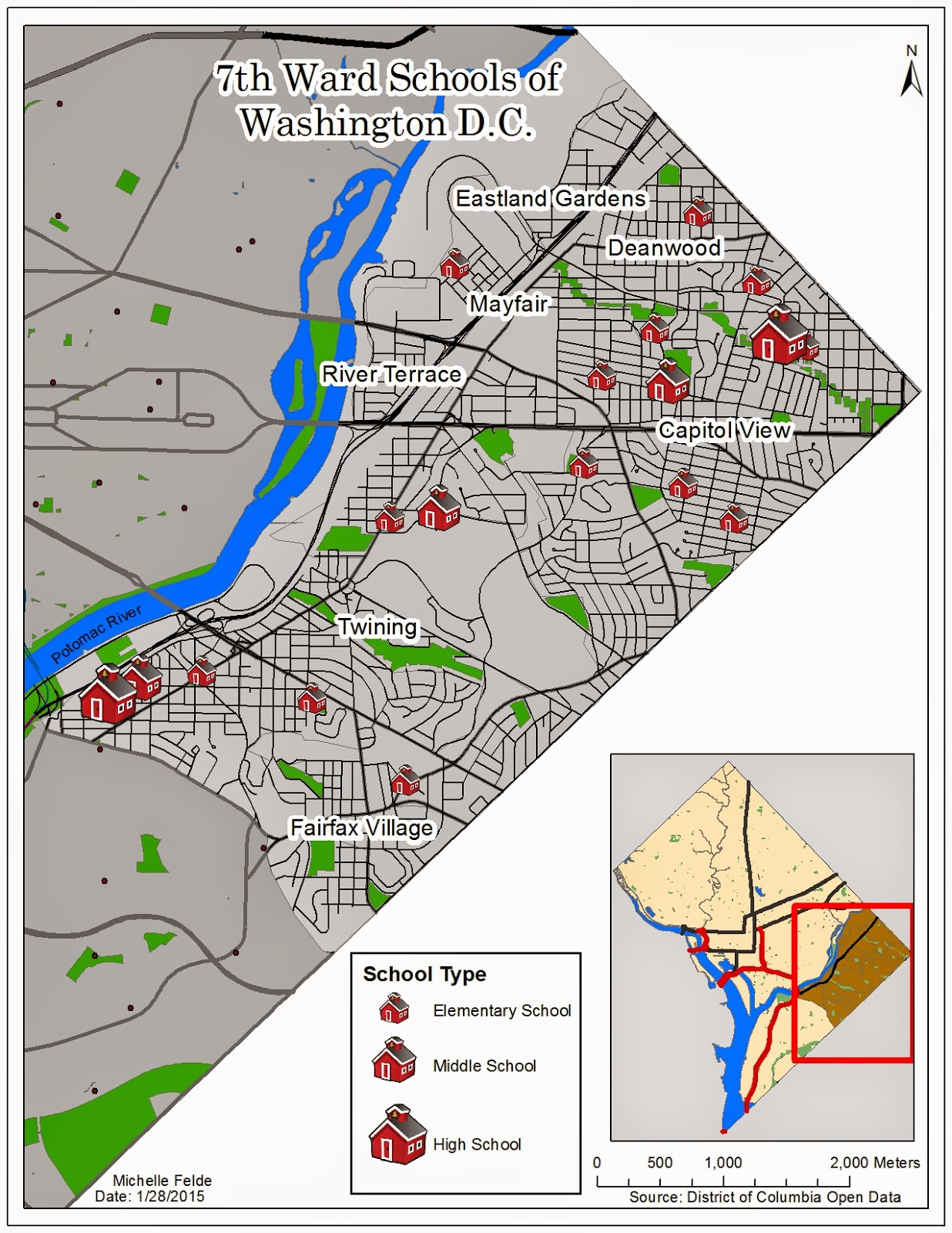 the map created was to show the three different types of schools in washington d c that are in ward 7 one of the key steps was to clip ward 7 shapefile