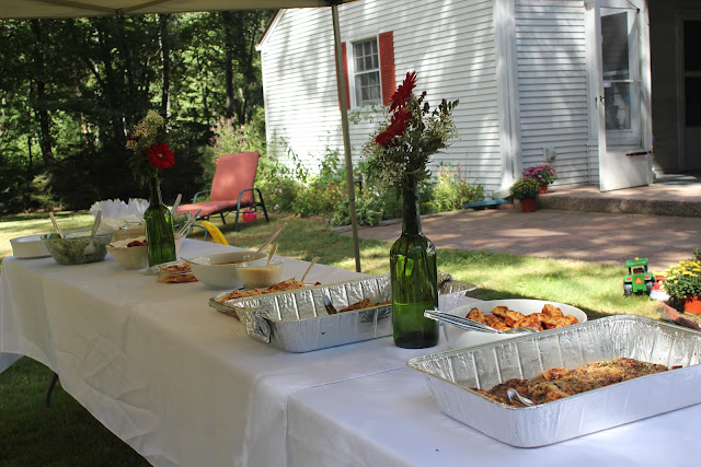Lunch spread for Italian-themed bridal shower