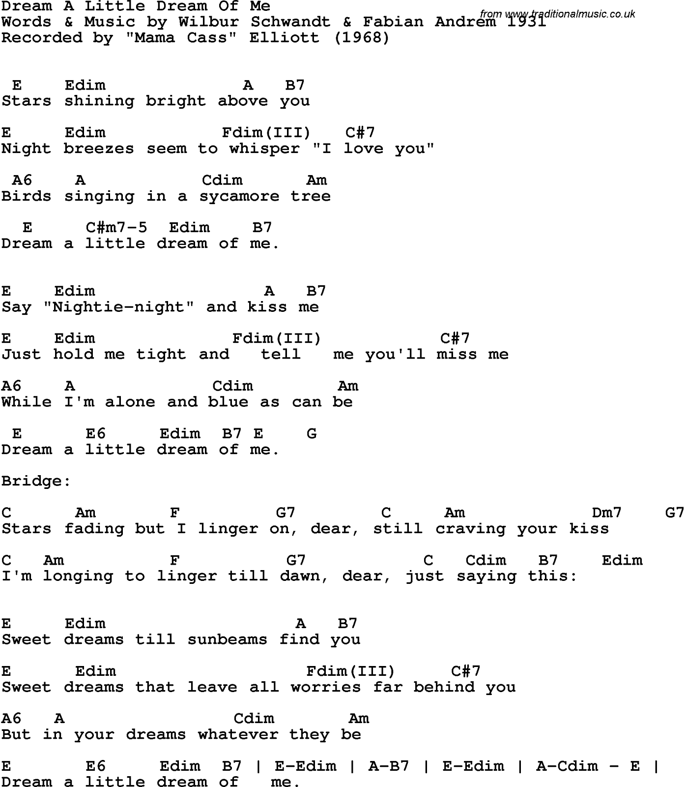 lyrics song: Song Lyrics With Guitar Chords Dream Little Mama