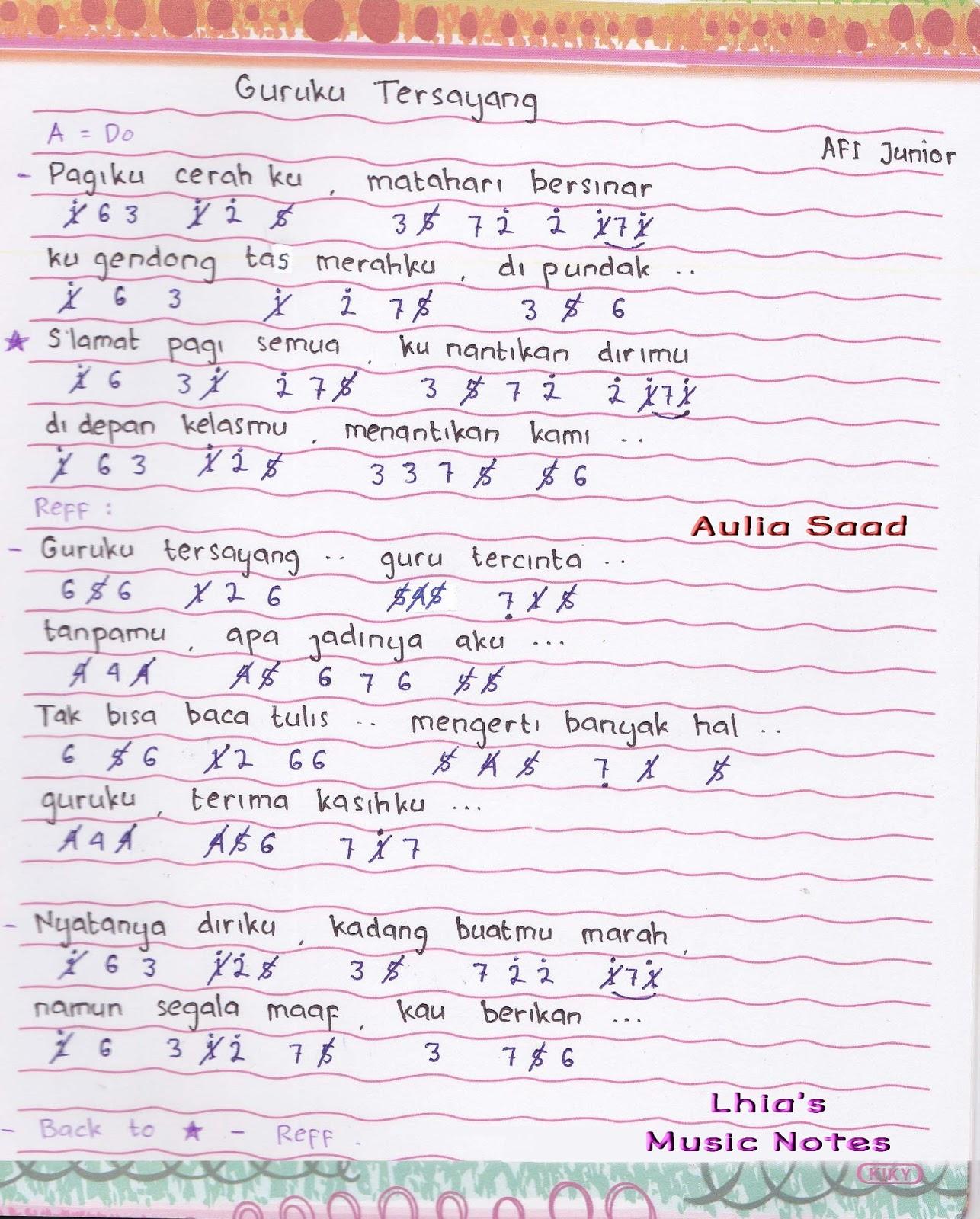 Lirik Chord Lagu Jikustik Puisi: Not Piano Pianika Lagu Guruku Tersayang
