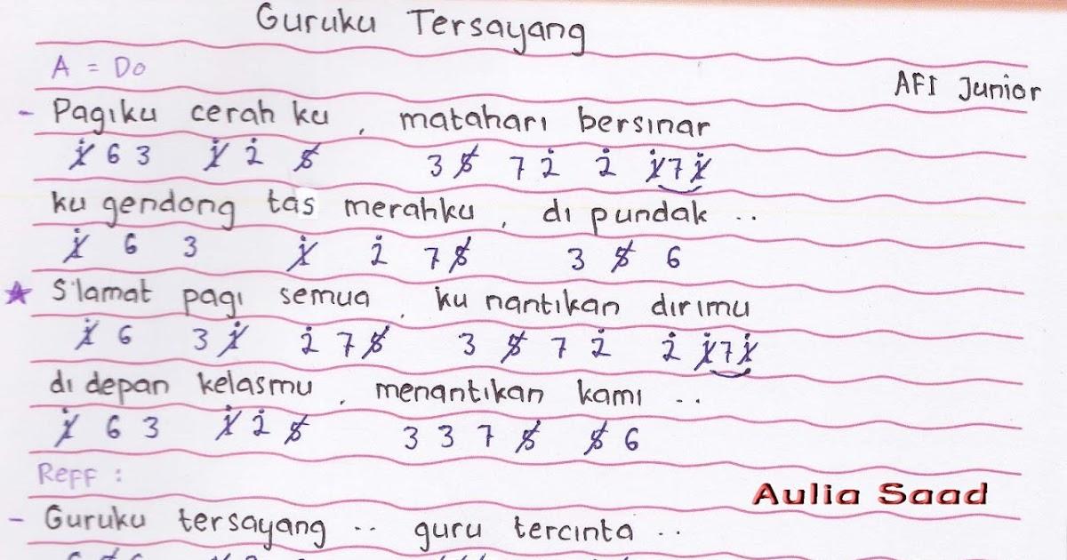 Not Angka : AFI Junior - Guruku Tersayang | Aulia's World
