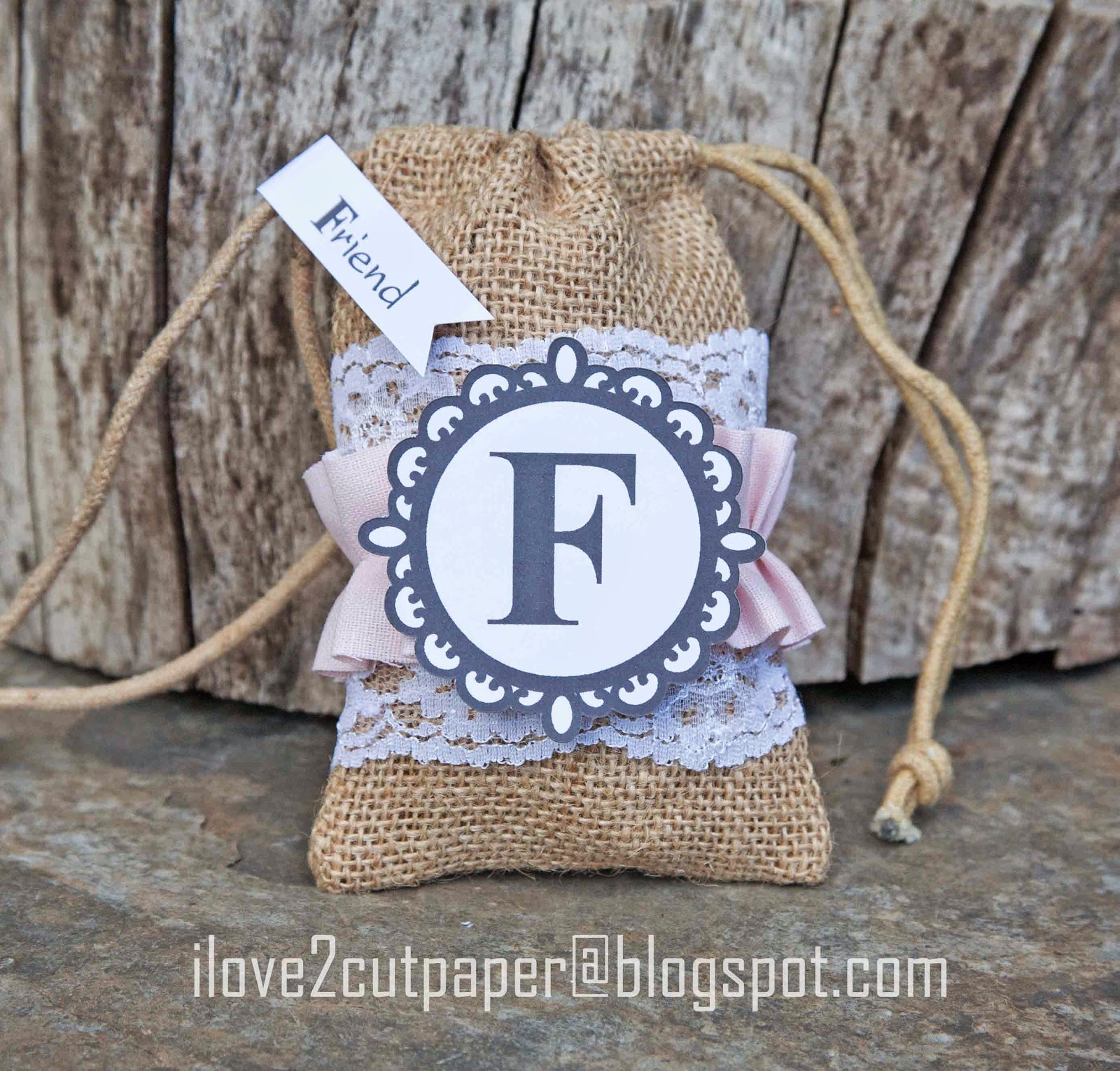 Decorated Burlap Gift Bags using Print and Cut with your Pazzles Inspiration.