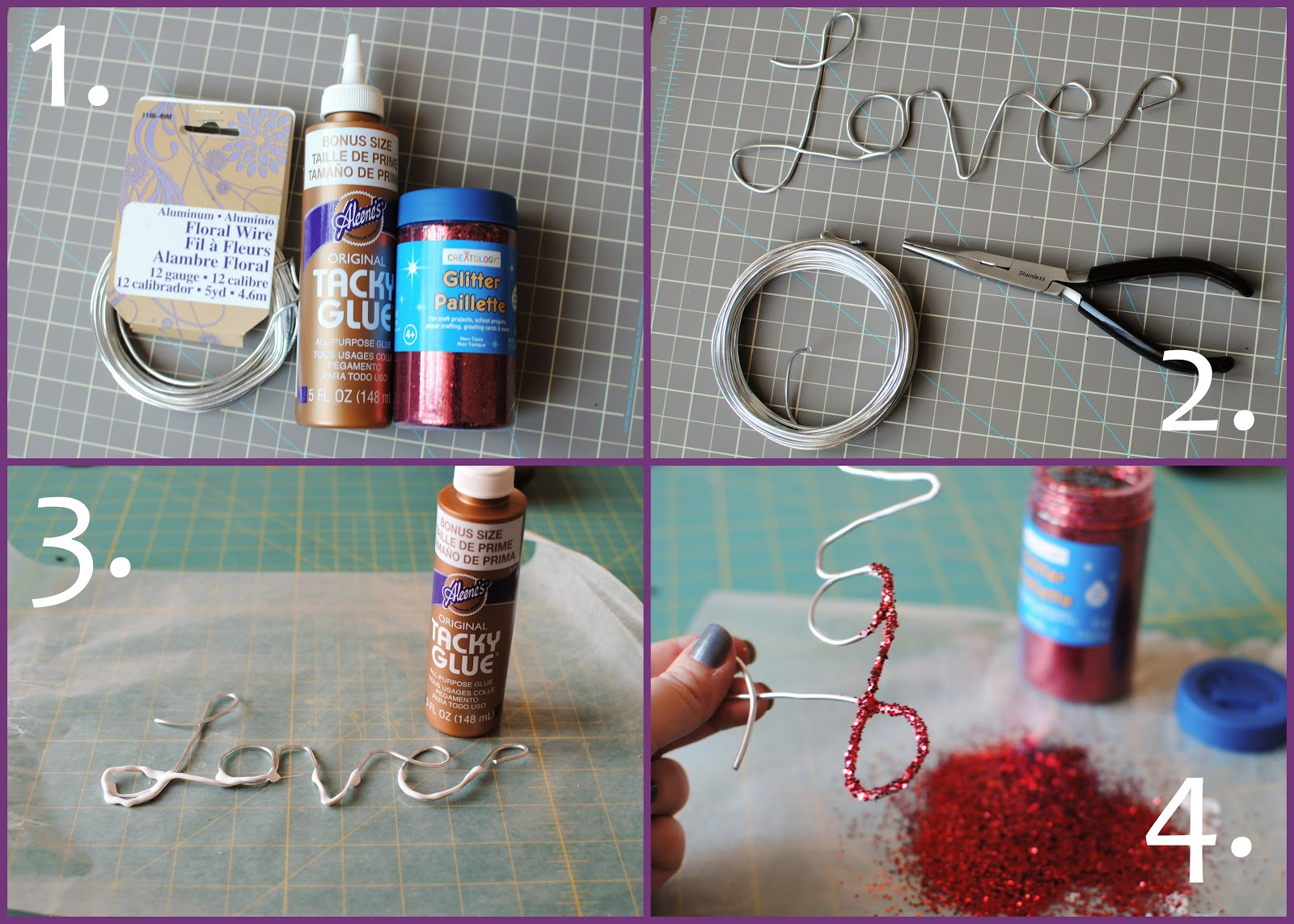 Big city little joys glitter and wire decoration love for Very simple wire craft projects