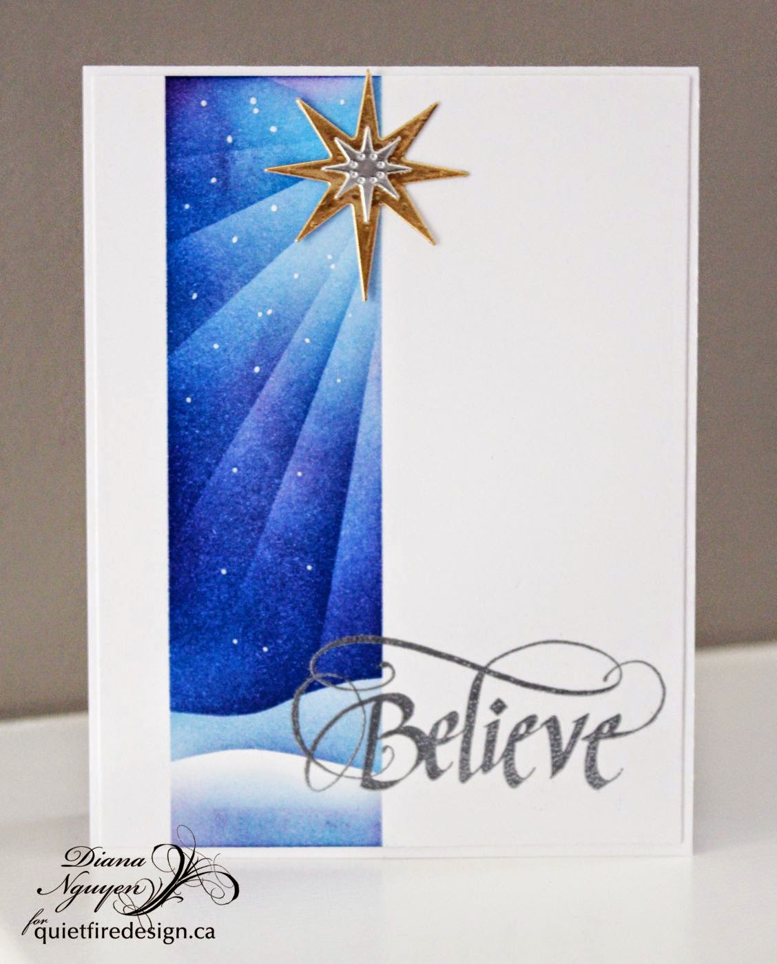 Quietfire Design, Diana Nguyen, CAS, Christmas, card, Believe