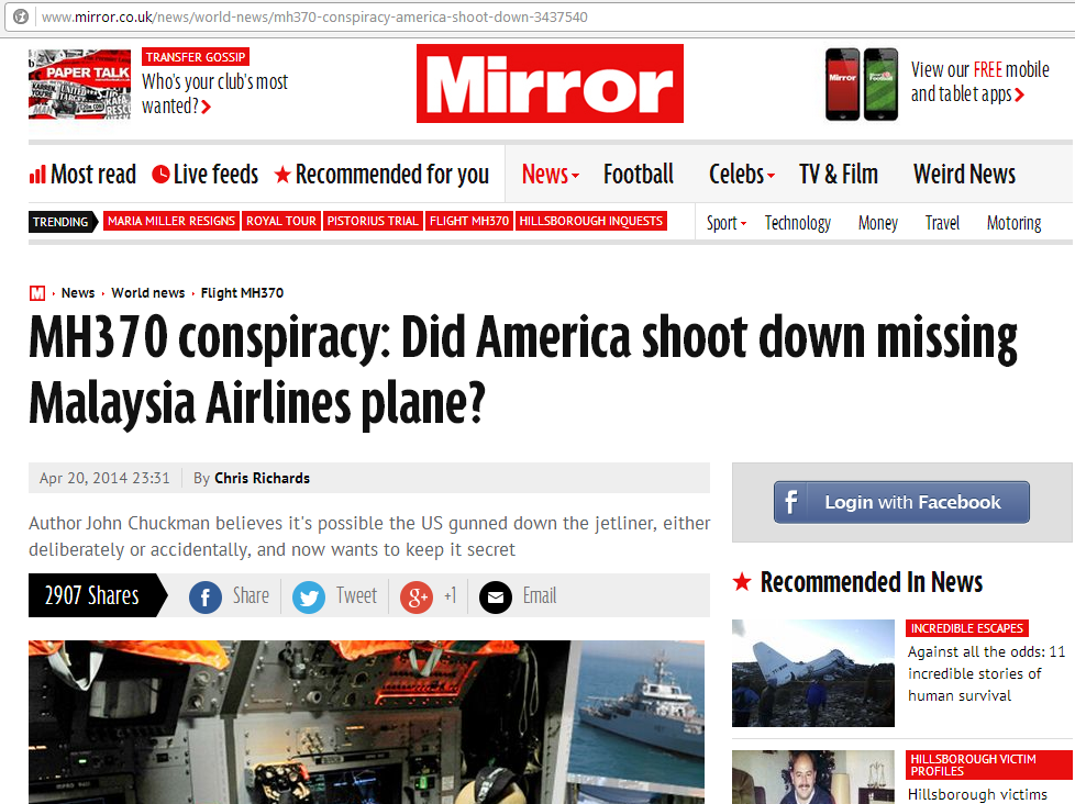 Keratan Dailymirror: MH370 conspiracy: Did America shoot down missing Malaysia Airlines plane?
