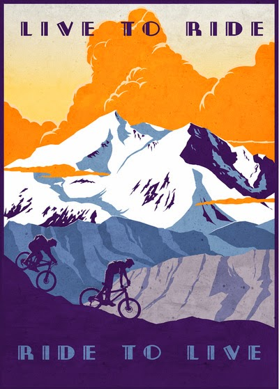 Live to ride, ride to live vintage cycling poster