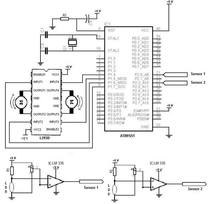 electronic schematic diagram of light detector robot using light dependent resistor  ldr