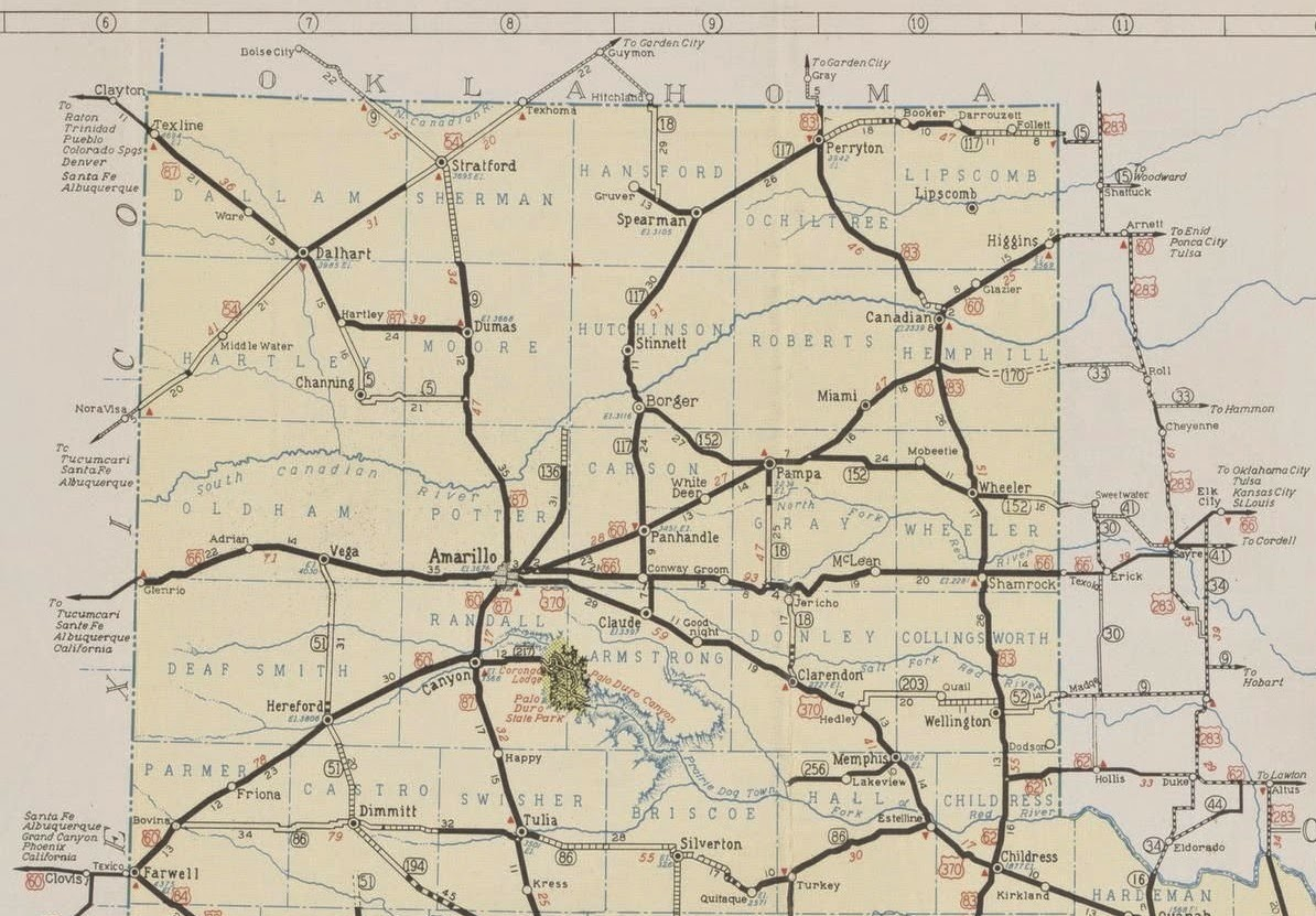 History of Amarillo, Texas: 1939 & 1941 Route Maps of Amarillo & the ...