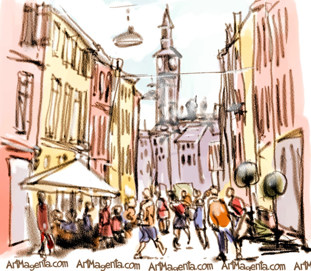 Ströget in Copenhagen is an urban sketch by Artmagenta