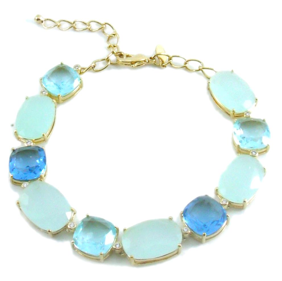 Pulseira folheada a ouro 18k.  Com pedras naturais azuis (Cristais de quartzo).
