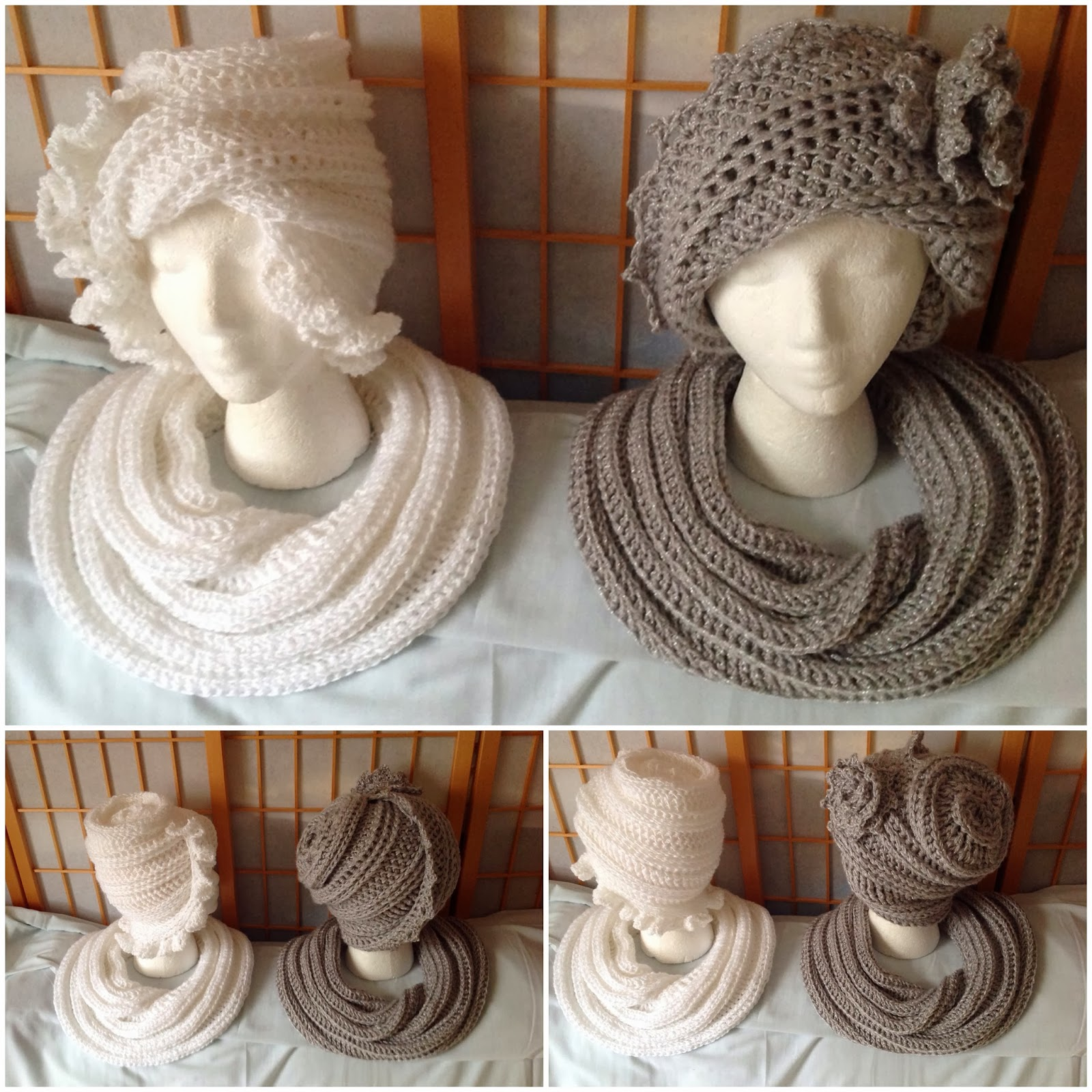 The Crochet LAUREN Cloche and CYNTHIA Beanie Hat with the SNAKE Infinity Scarf made by Yvonne