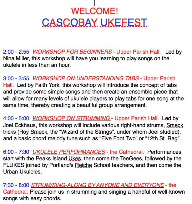 Cascobay Ukefest 2015