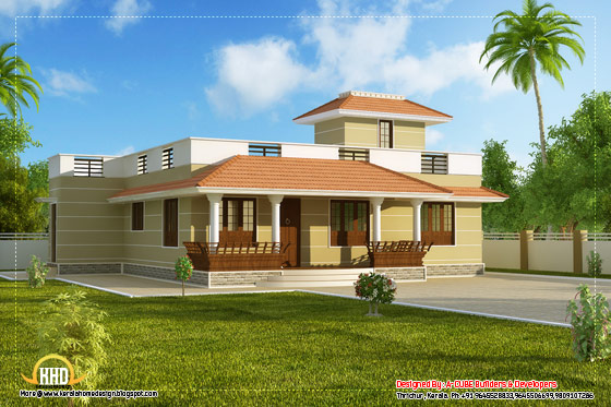 Single story Kerala model house without car porch 1395 Sq.Ft. (130 Sq.M.) (155 Square Yards) - April 2012