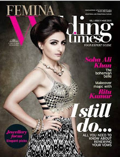 Soha Ali Khan features on the cover of Femina Wedding Times Magazine August 2015