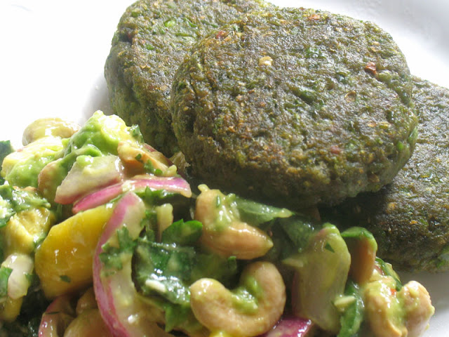 green pea falafel with fresh fruit salad