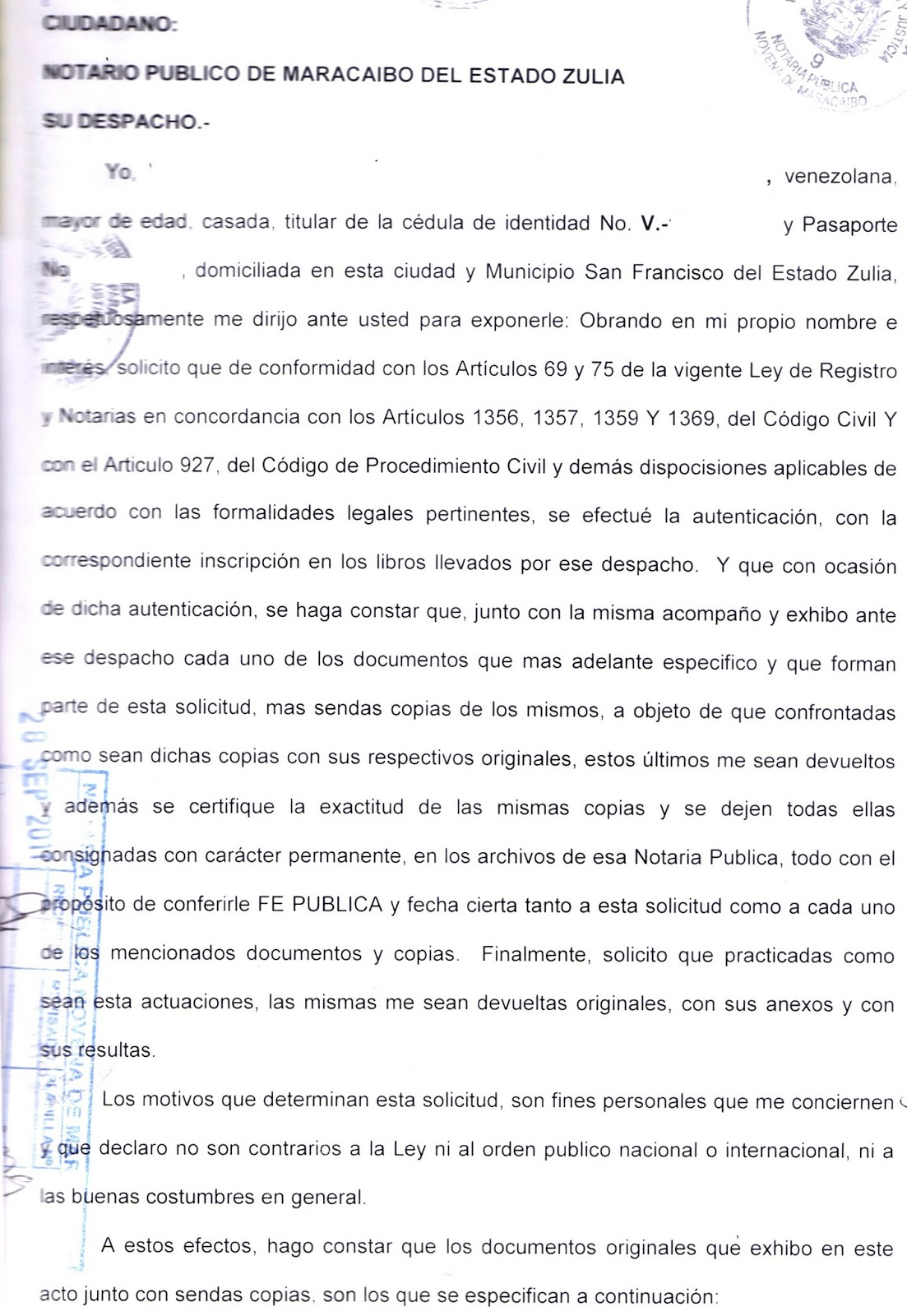 Cartas para Notariar Documentos ~ Camino a La Métropole