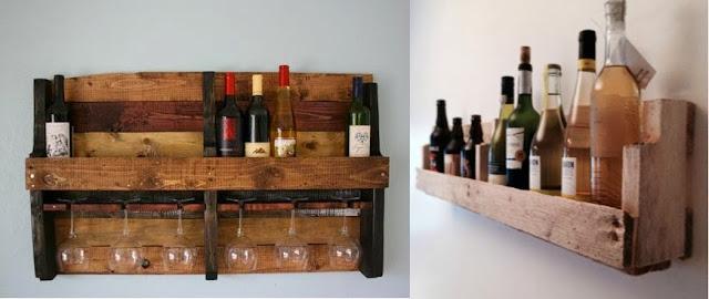 soportes de madera para vino y copas