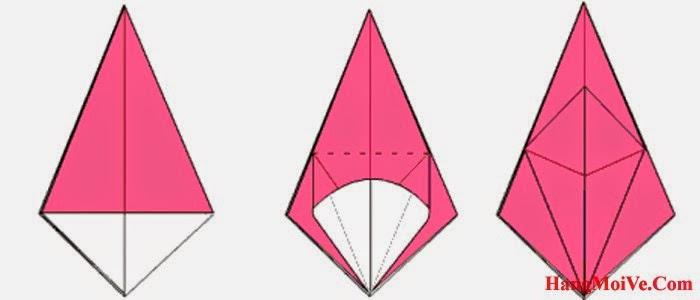 Bước 13: Từ hình 1, mở lớp giấy theo chiều từ trong ra ngoài hướng từ dưới lên trên (hình 2) rồi gấp xuống được hình 3.