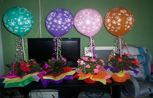 Centro de mesa con globos ~ Portal de Manualidades