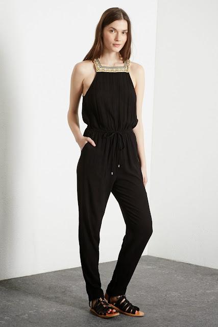 warehouse black jumpsuit, black jumpsuit embroidered neck,