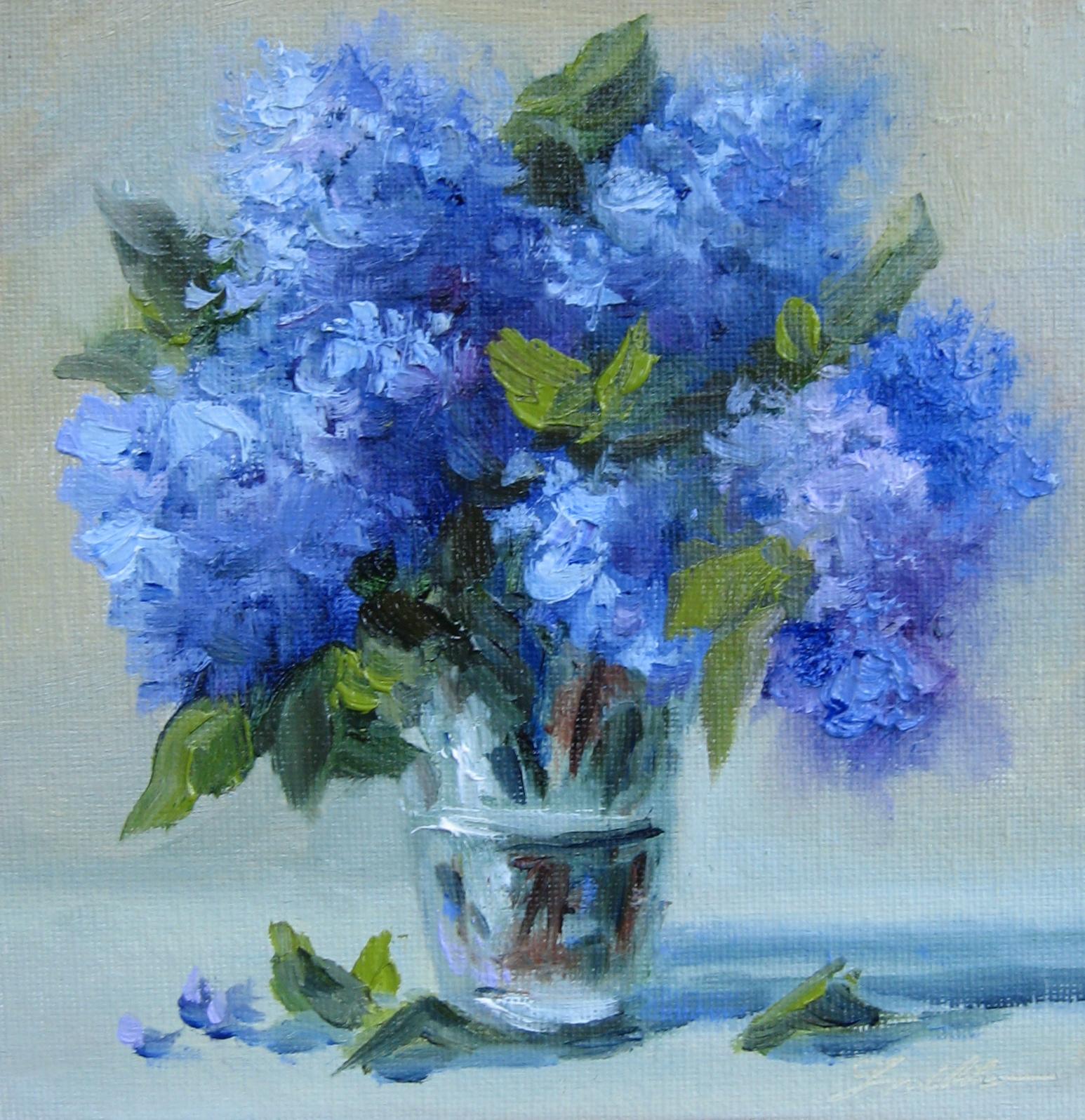 Pat fiorello art elevates life flower study 26 blue hydrangeas flower study 26 blue hydrangeas in a glass vase reviewsmspy