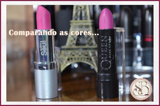 Somando Beleza, Batons, Comparando, Queen Make Up, Eudora, Rosa Marcante