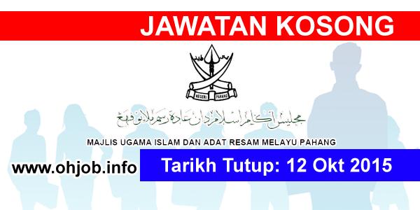 Jawatan Kerja Kosong Majlis Ugama Islam Pahang (MUIP) logo www.ohjob.info oktober 2015