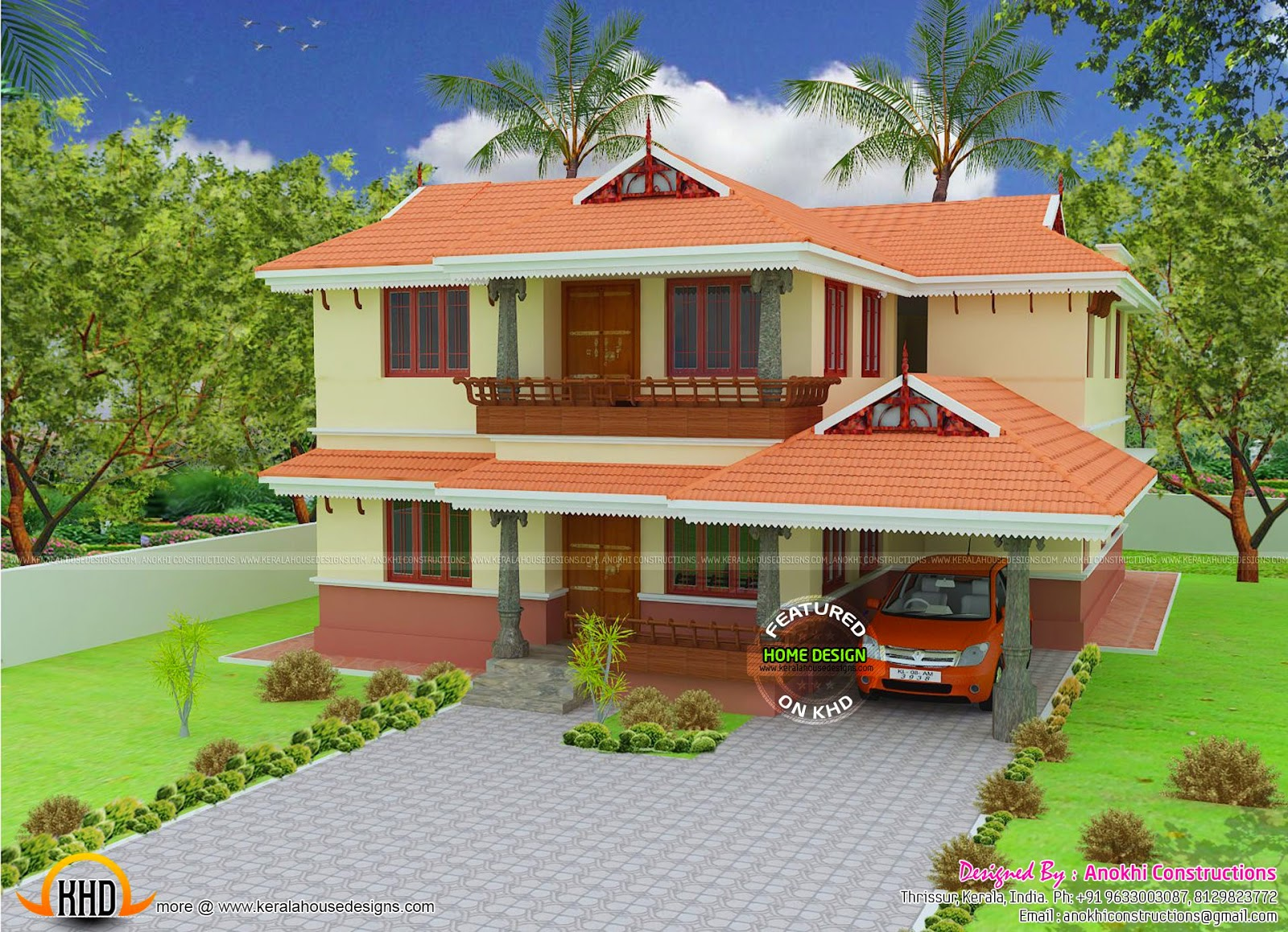 2080 square feet kerala model house kerala home design for Kerala model house photos with details