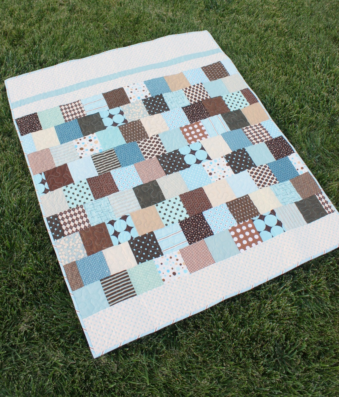 Brown And Blue Baby Quilt Diary Of A Quilter A Quilt Blog