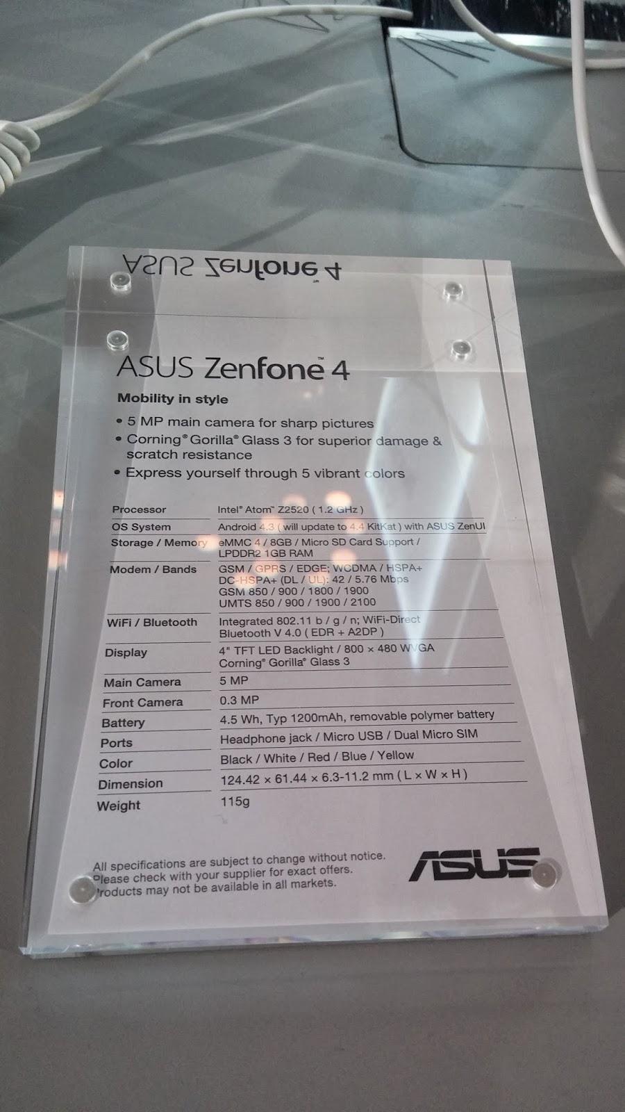 "Smartphone de Asus de 4"""
