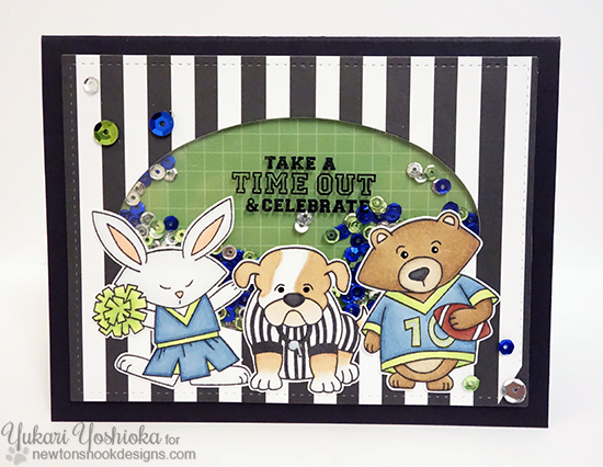 Football shaker card by Yukari Yoshioka | Touchdown Tails stamp set by Newton's Nook Designs #newtonsnook #football
