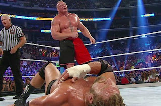 Brock lesnar staring at Triple h