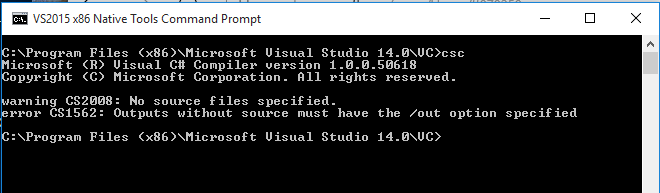 If This Is Correct When You Installed Visual Studio 2015 Community Also VS X86 Native Tools Command Prompt