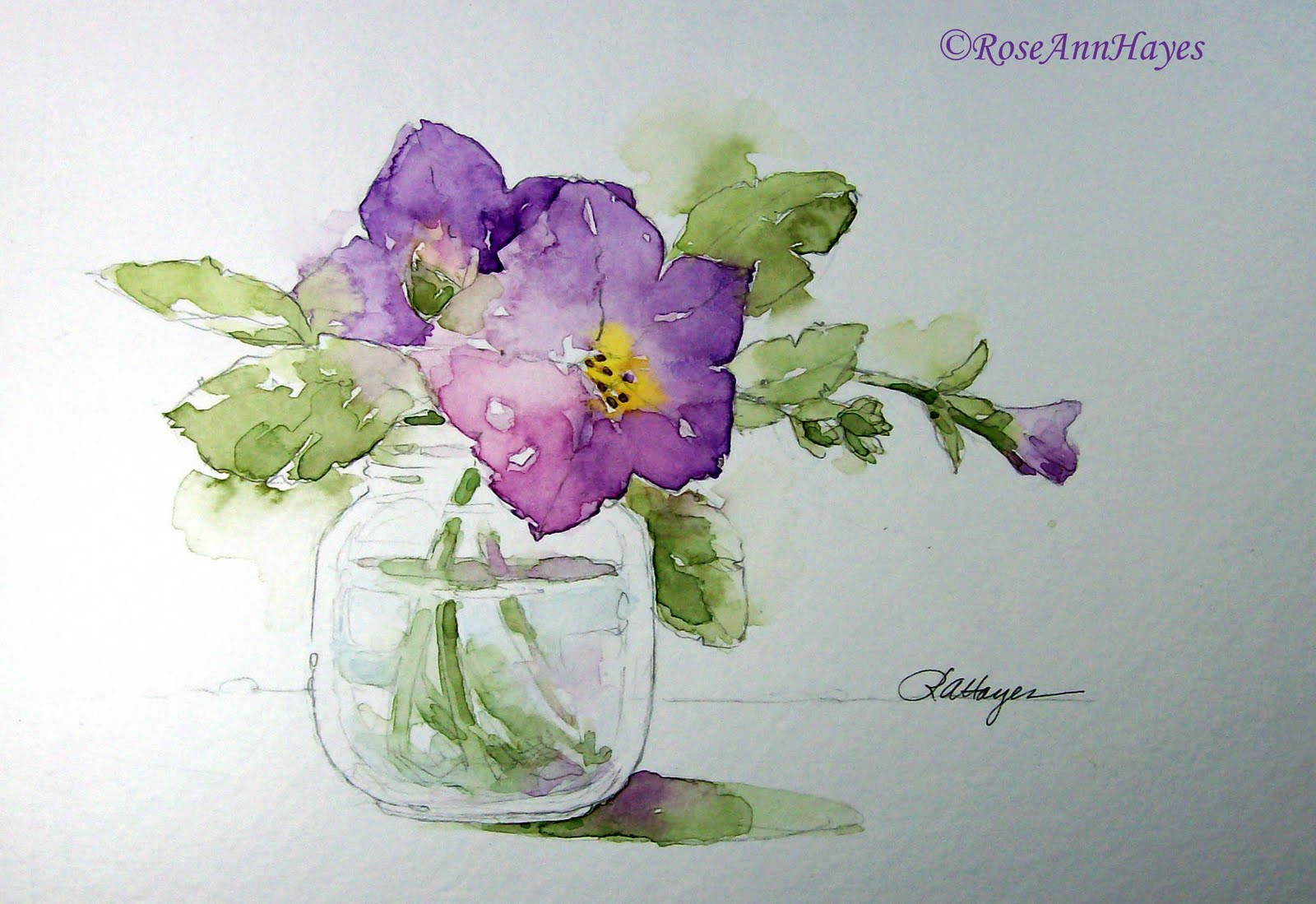 Watercolor paintings by roseann hayes november 2011 for Easy watercolor for beginners